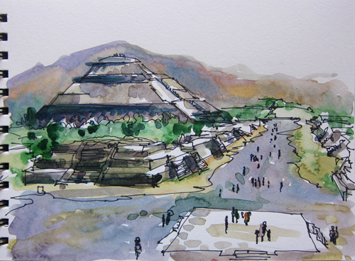Drawn pyramid teotihuacan This Mexico Teotihuacan and of