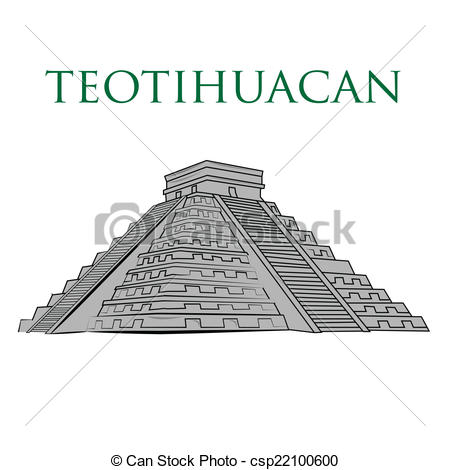 Drawn pyramid teotihuacan Vector teotihuacan an of place