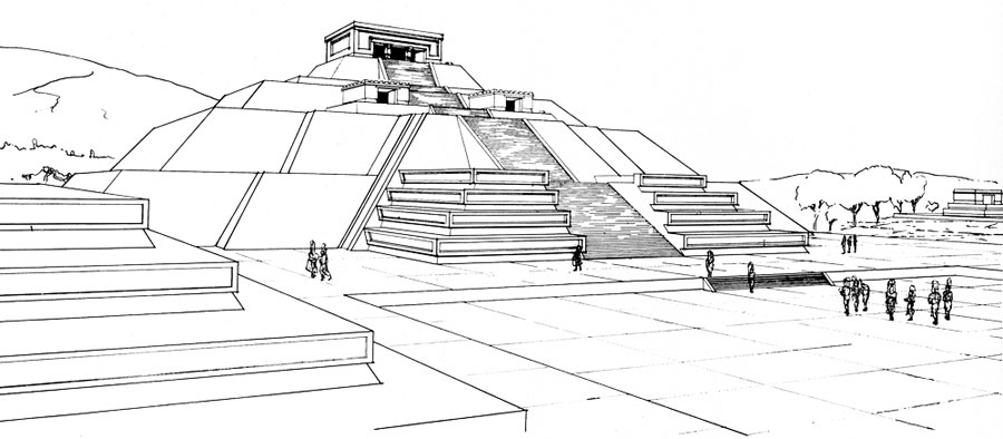 Drawn pyramid teotihuacan Pic of the design Teotihuacan