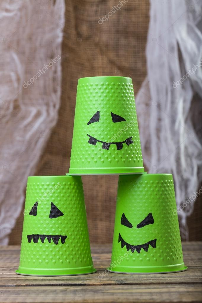Drawn pyramid three Ghost with scary cups table