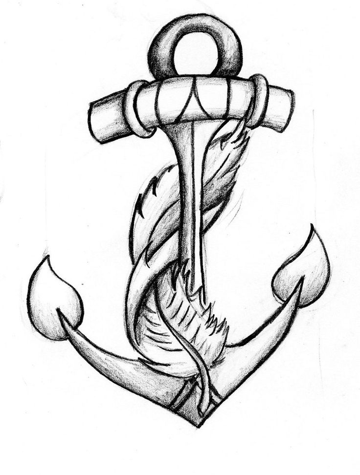 Drawn quote anchor Two sayings combines tattoos feather