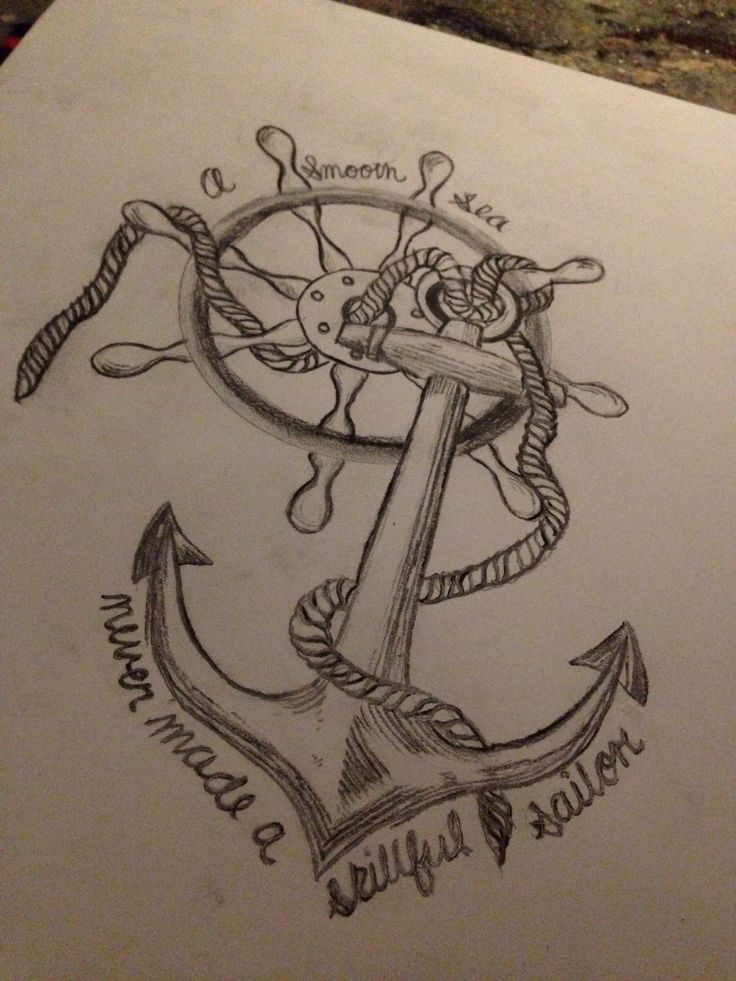 Drawn anchor cross Wheel soft Tattoo a Symbolize