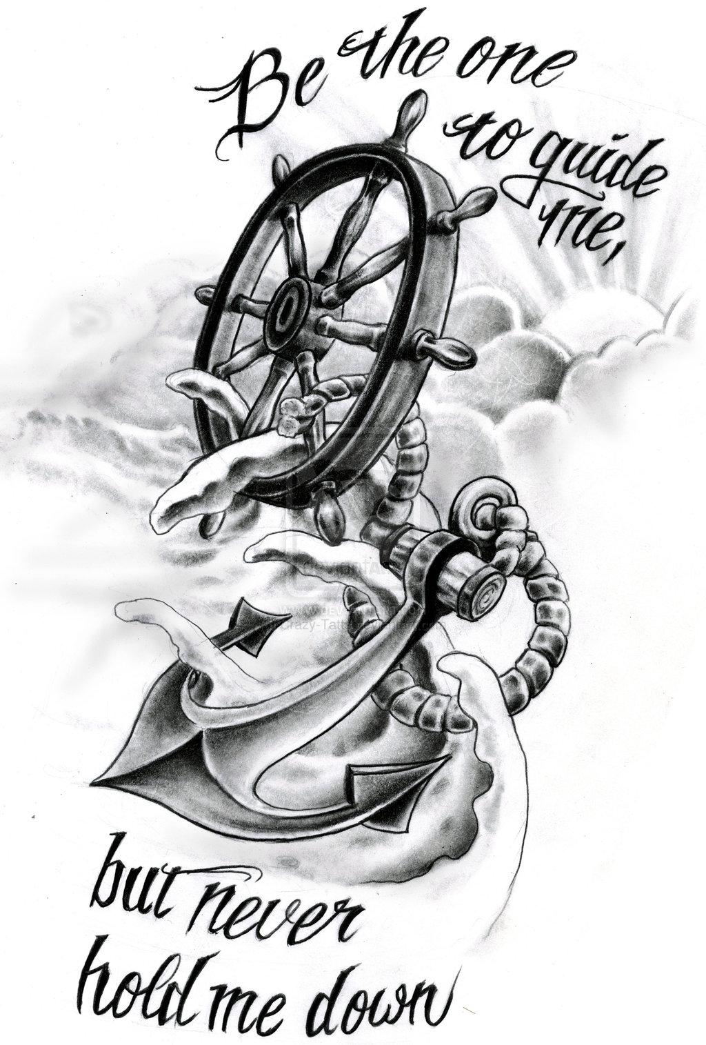 Drawn quote anchor DesignAnchor ·  DrawingCompass Tattoo