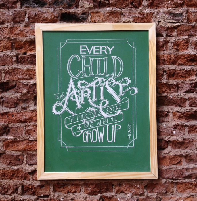 Drawn quote chalk Hand Chalk Picasso Typography Lettering