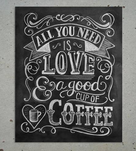 Drawn quote chalkboard Love features Art & Love