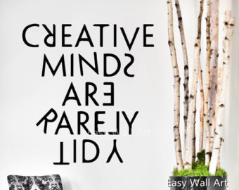 Drawn quote creative mind Creative Wall Etsy For Creative