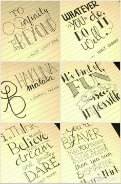 Drawn quote disney movie And quote / lettering Disney