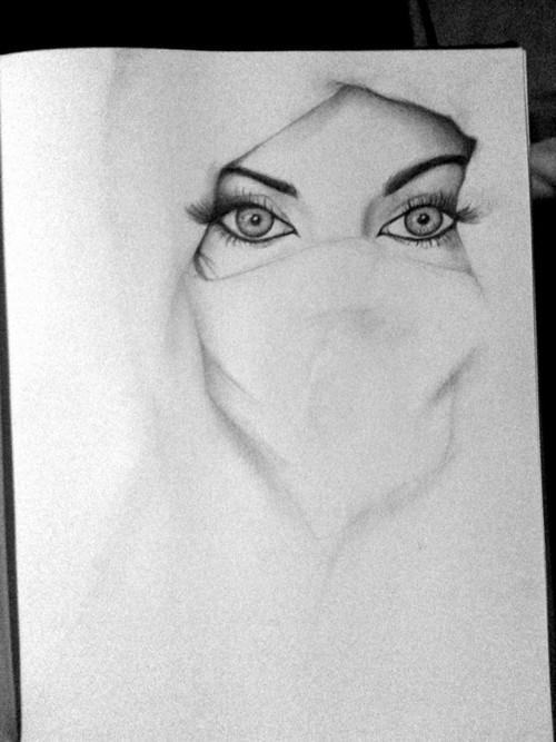 Drawn quote pencil White Niqab Drawing) Quotes Niqab
