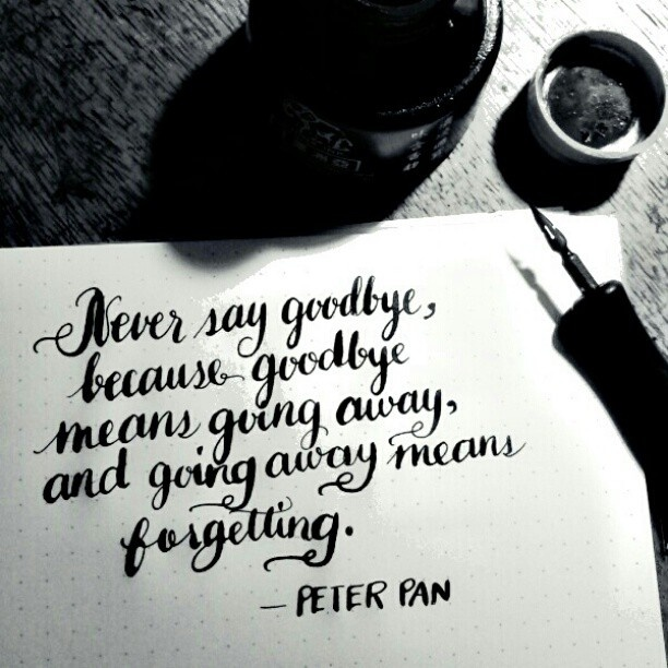 Drawn quote say goodbye Because say means away goodbye