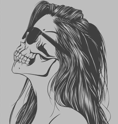 Drawn skull female skull Best An gold//guns//girls from Skull