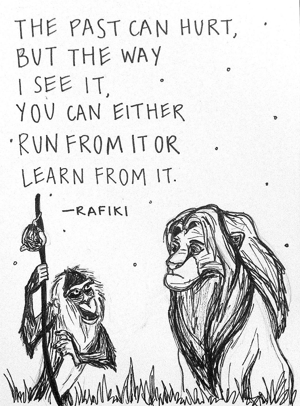 Drawn quoth disney movie  Rafiki with with Lion