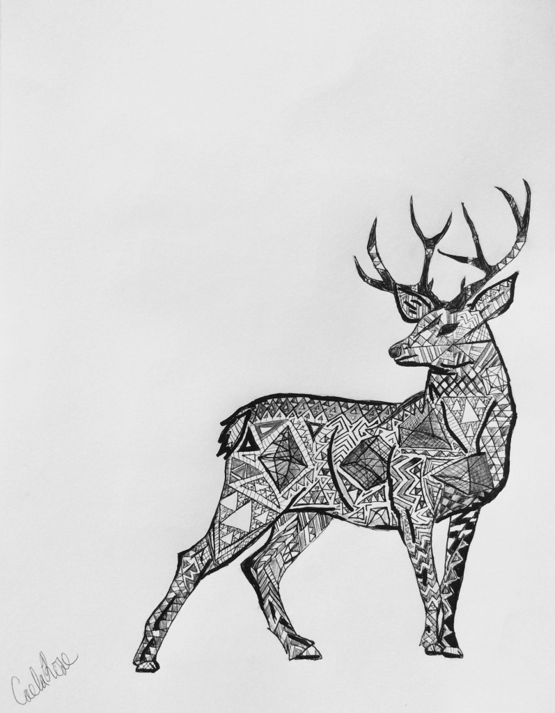 Drawn reindeer pen and ink Doodle and Deer drawing ROSE
