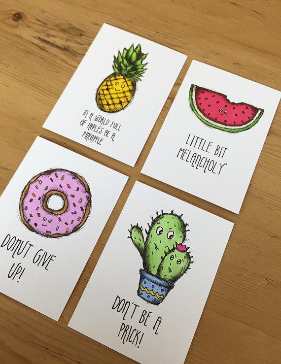 Drawn quote funny Original cute cute Watermelon ACEO