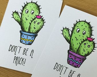 Drawn quote funny Etsy Quote drawn Cacti Card