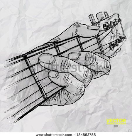 Drawn guitar guitar player Crumpled of guitar on everything