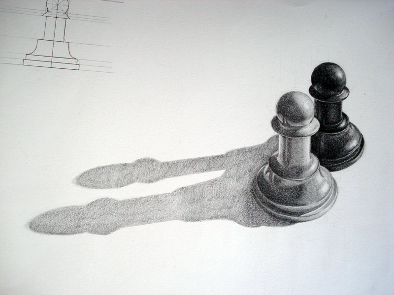 Drawn quoth pencil Pencil white and pawns pawns