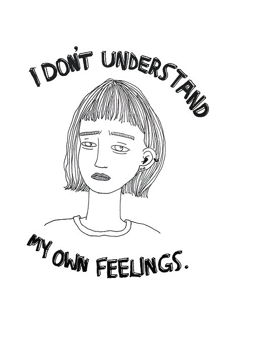 Drawn quoth sad White feelings words girl depressed