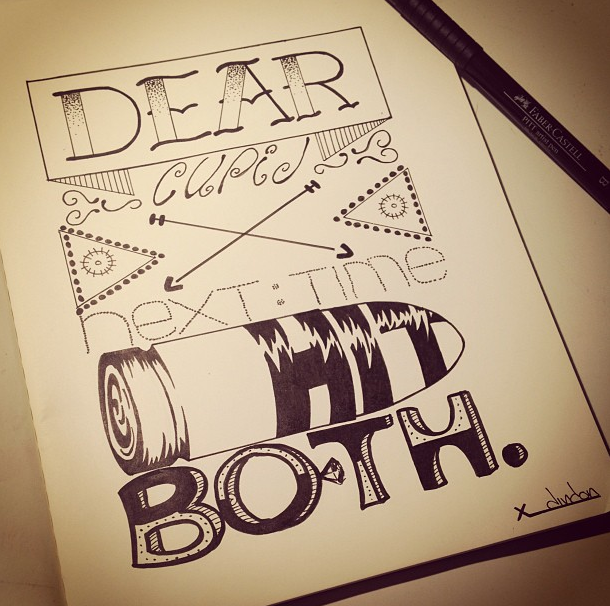 Drawn quoth typography Cupid Quote Sketchbook Typeface Lettering