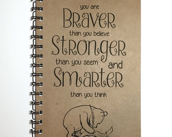 Drawn quote winnie the pooh Motivational Gift Journal You Etsy
