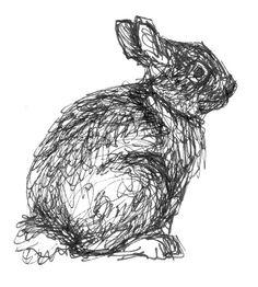 Drawn rabbid abstract Original sitting Jackrabbit Bunnies drawing