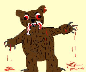 Drawn rabbid bear A cry toddler rabid Freddy