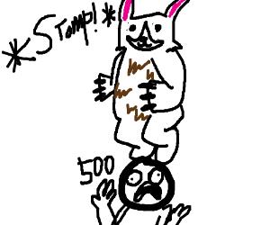 Drawn rabbid bear MilkMan5x) rabid desperate stomps rabid