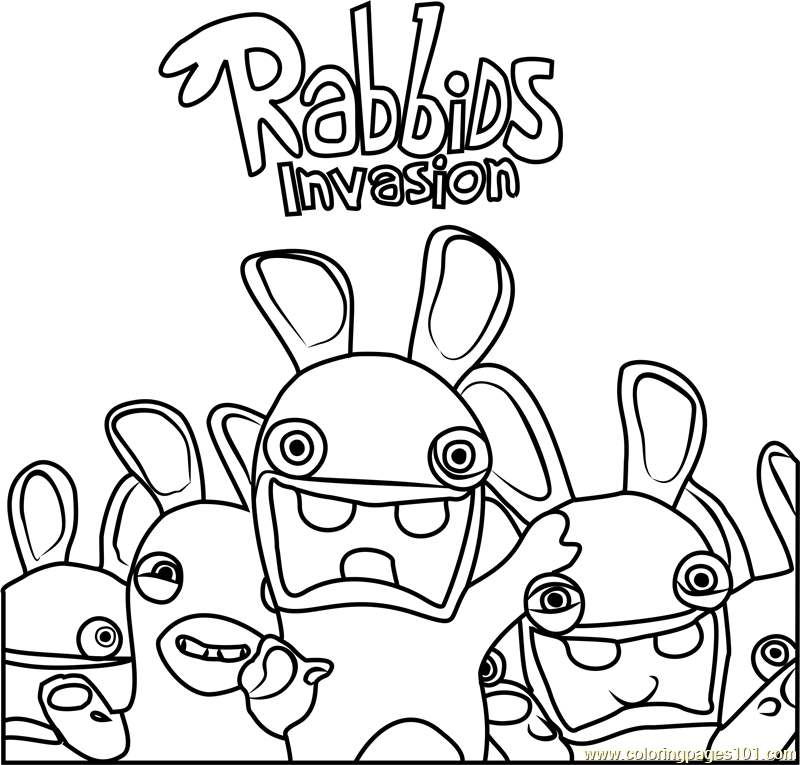 Drawn rabbid black and white Coloring Invasion Invasion Rabbids Coloring