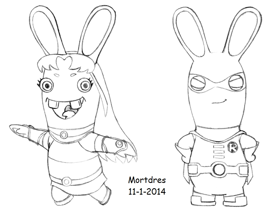 Drawn rabbid black and white Titans Rabbids by 02 Mortdres