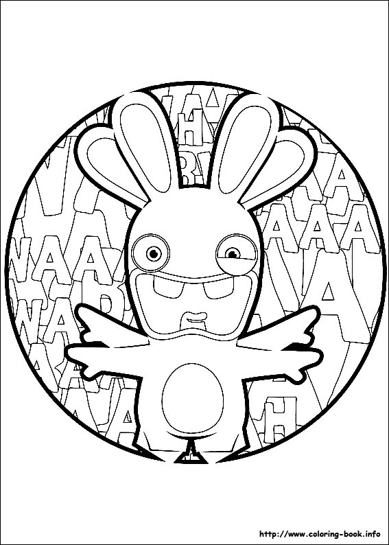 Drawn rabbid black and white : updated Coloring on Book