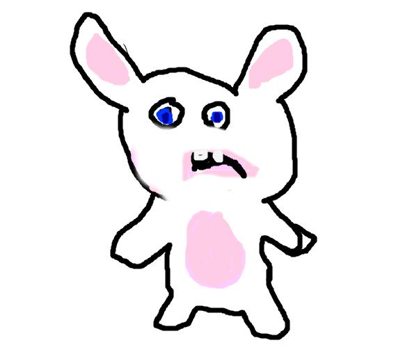 Drawn rabbid bunny tail Drawing rabbid raving bad rabbid