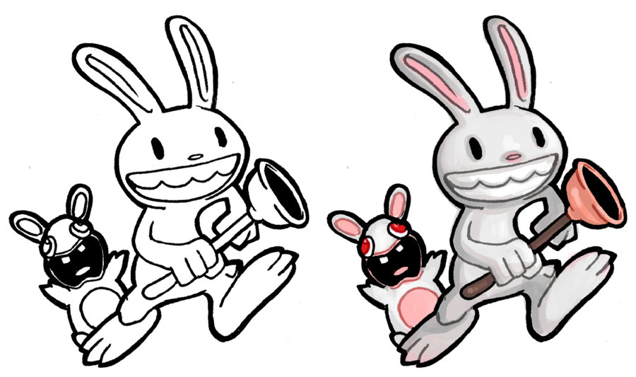 Drawn rabbid chibi + Max Rabbid ElectroCereal on