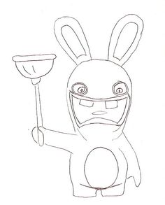 Drawn rabbid children's Ventouse (x15) Anniversaires coloriage cupcake