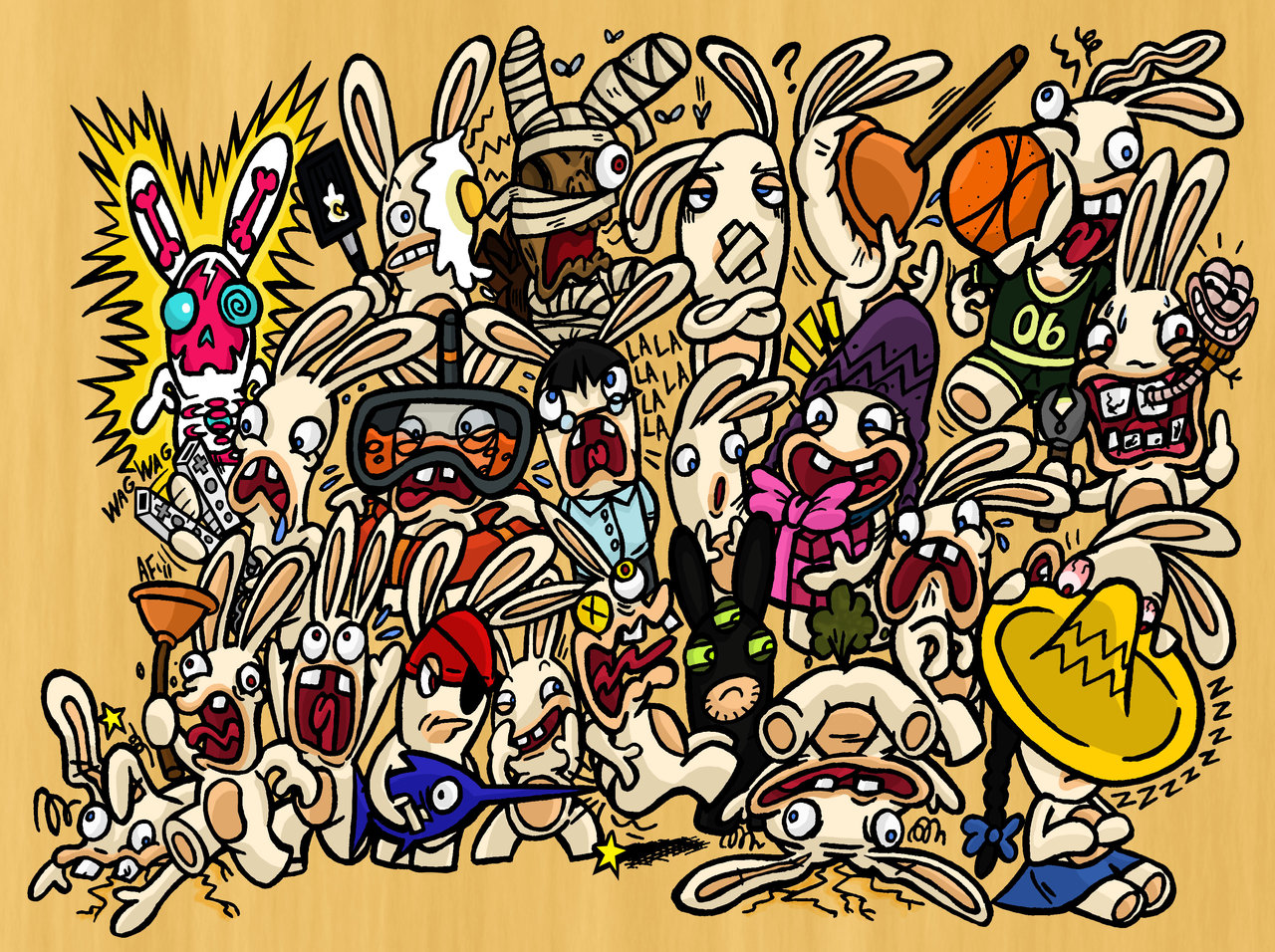 Drawn rabbid doodle By Page on GagaMan Rabbids