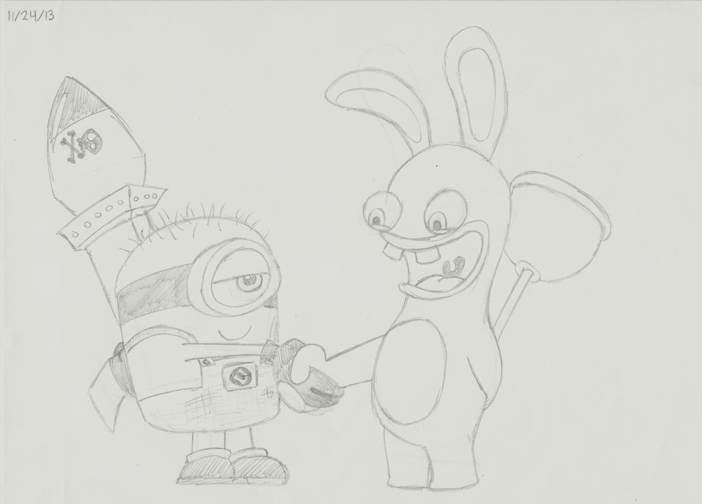 Drawn rabbid doodle Meets DeviantArt boshthehedgehog by Rabbids