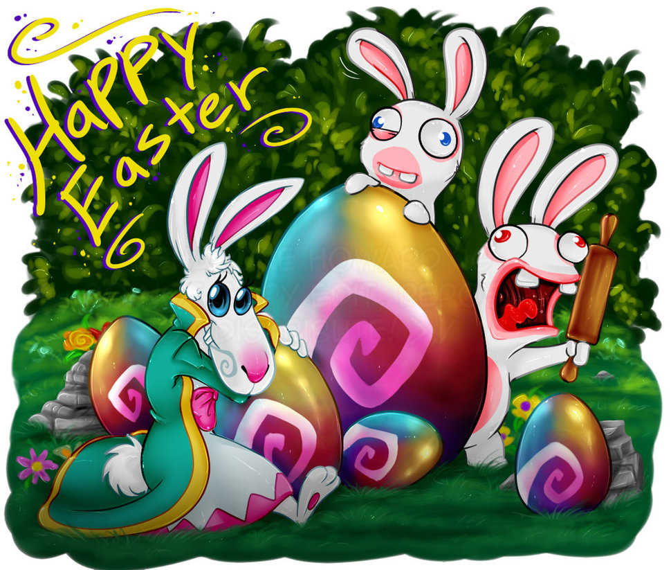 Drawn rabbid easter bunny Rabbid by  shaloneSK on