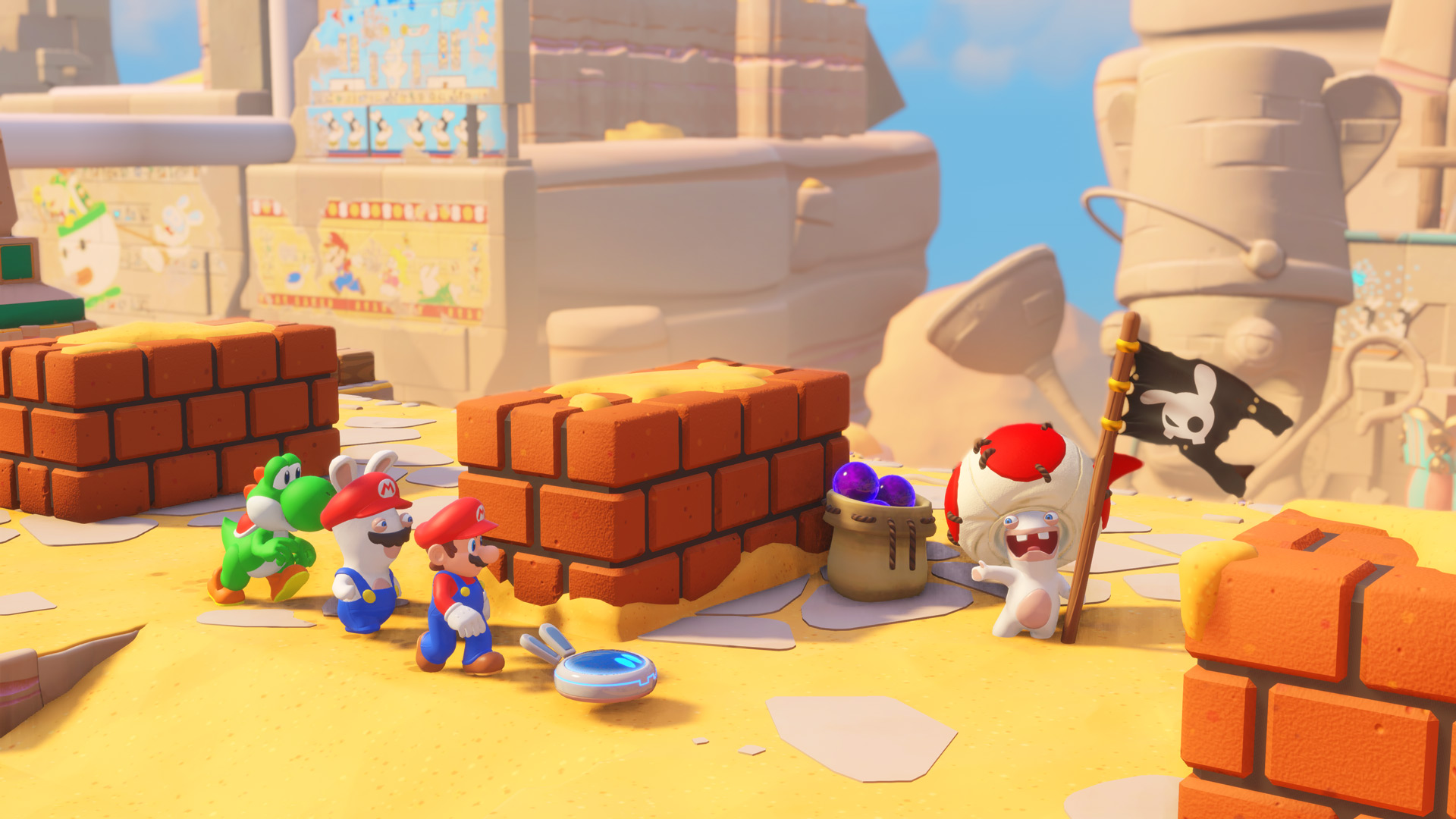 Drawn rabbid healing Mario modern element Game Rabbids