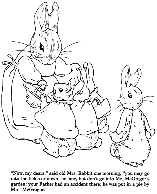 Drawn rabbid peter rabbit Practice Coloring Tale of Peter
