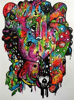 Drawn rabbid psychedelic James Rabbit see by Head