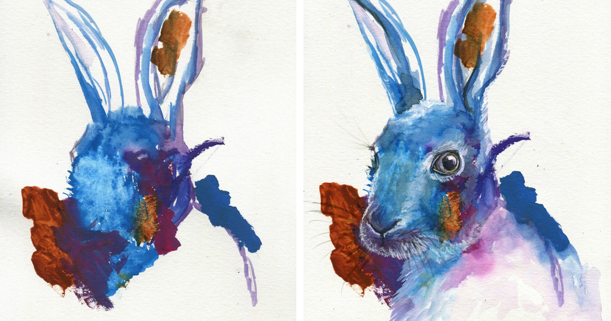 Drawn rabbit 5 year old Turns Dad Paintings Artist Old