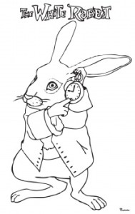 Drawn rabbid alice in wonderland Alice in Coloring Wonderland rabbit