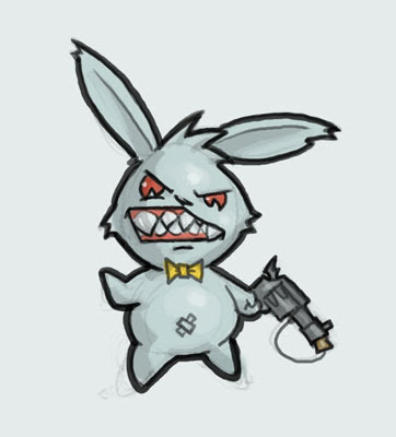 Drawn rabbit angry So by such Please