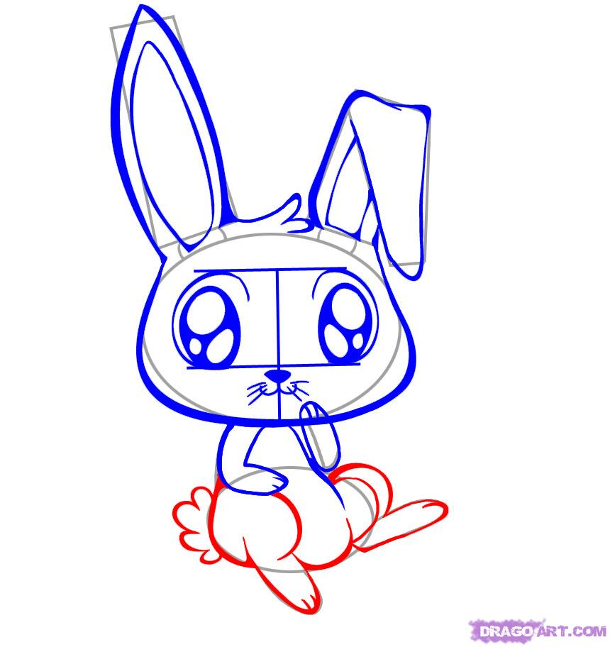 Drawn rabbit angry How 7 how by Step