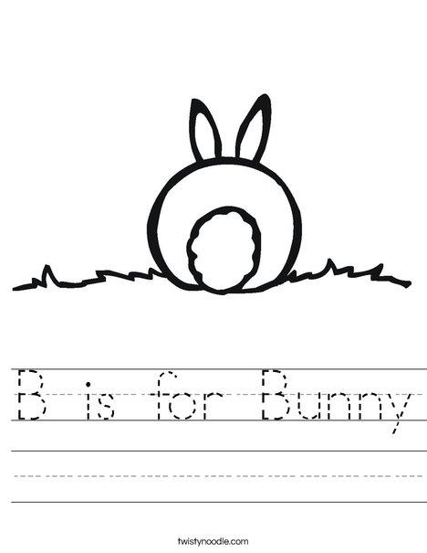 Drawn rabbit bunny tail Bunny Twisty Noodle Worksheet B