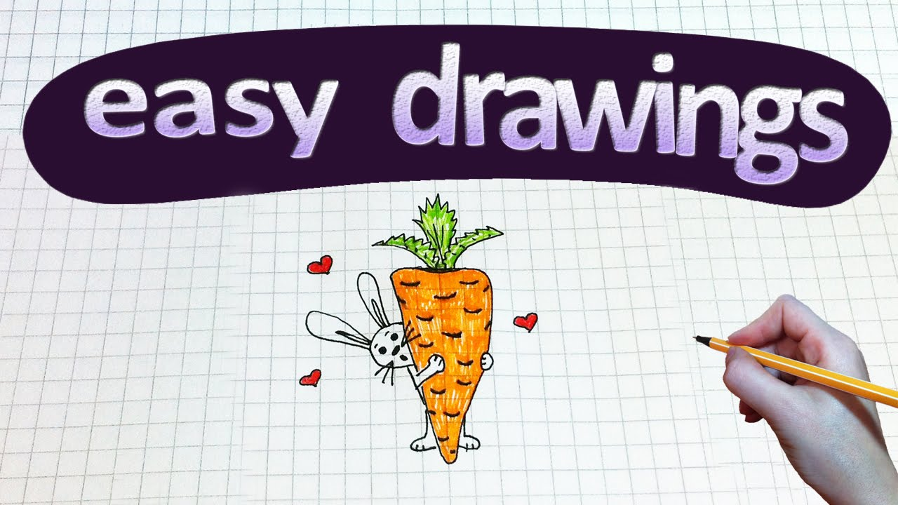 Drawn rabbit carrot drawing Easy How #116 drawings a