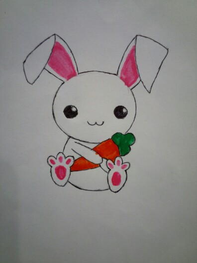 Drawn rabbit carrot drawing Cute drawing # small #tattoo