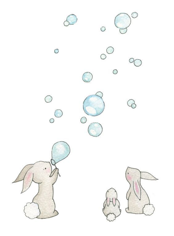Drawn rabbit children's Kid's Nursery New Baby Bedroom