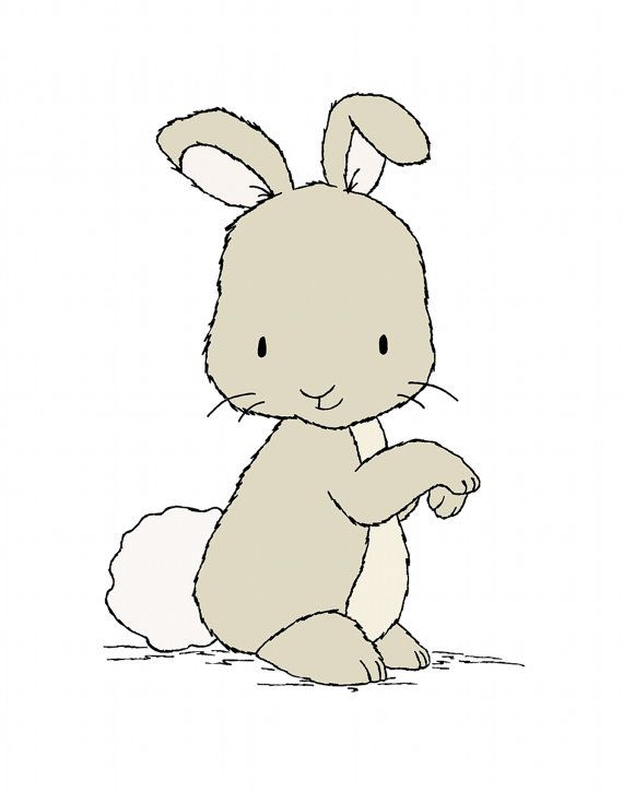 Drawn rabbit children's Print Nursery Print Kids Bunny