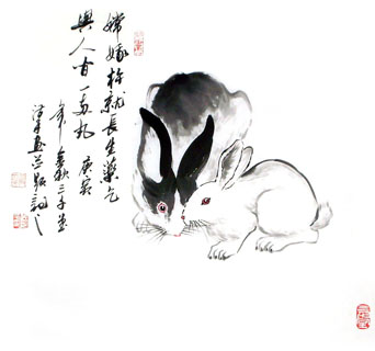 Drawn rabbit chinese rabbit 50cm 50cm Rabbit Painting x