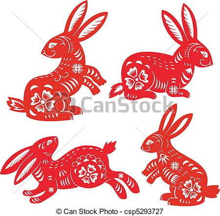 Drawn rabbit chinese rabbit Vectors Year Zodiac Rabbit of
