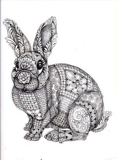 Drawn rabbit color Coloring difficult Find this on